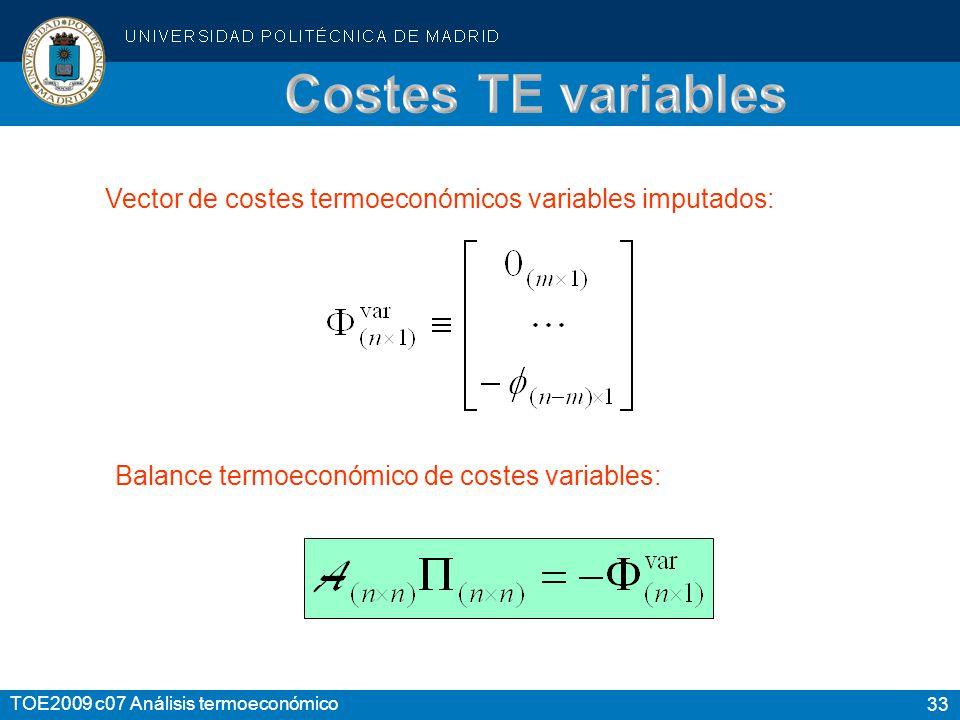 Costes TE variables Vector de costes termoeconómicos variables imputados: Balance termoeconómico de costes variables: