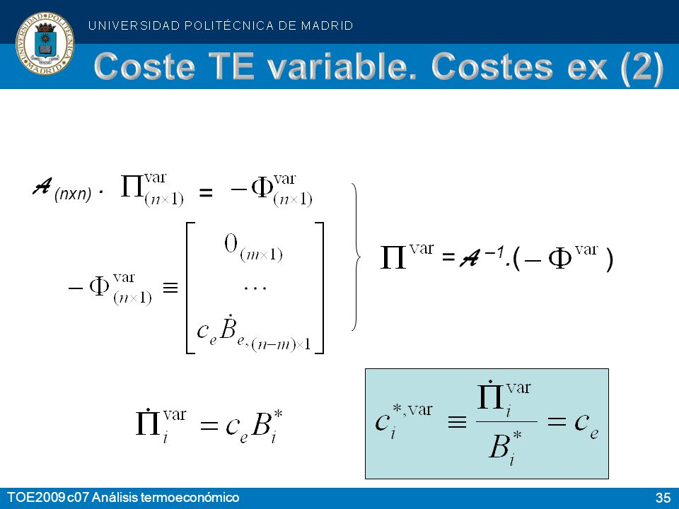 Coste TE variable. Costes ex (2)