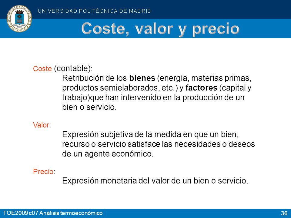 Coste, valor y precio Coste (contable):