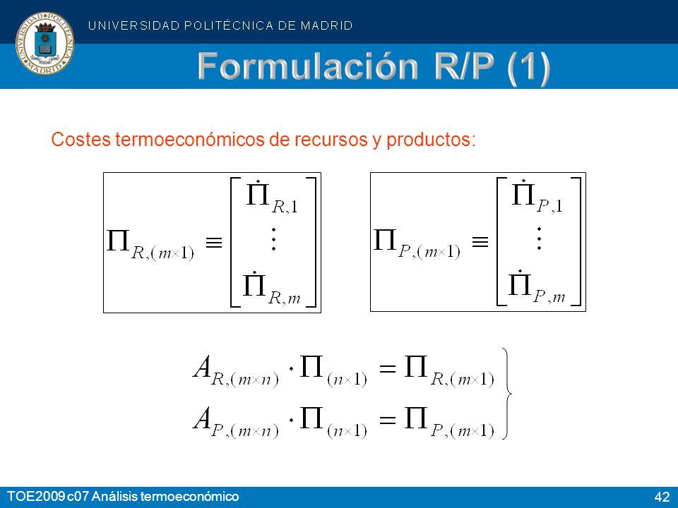 Formulación R/P (1) Costes termoeconómicos de recursos y productos: