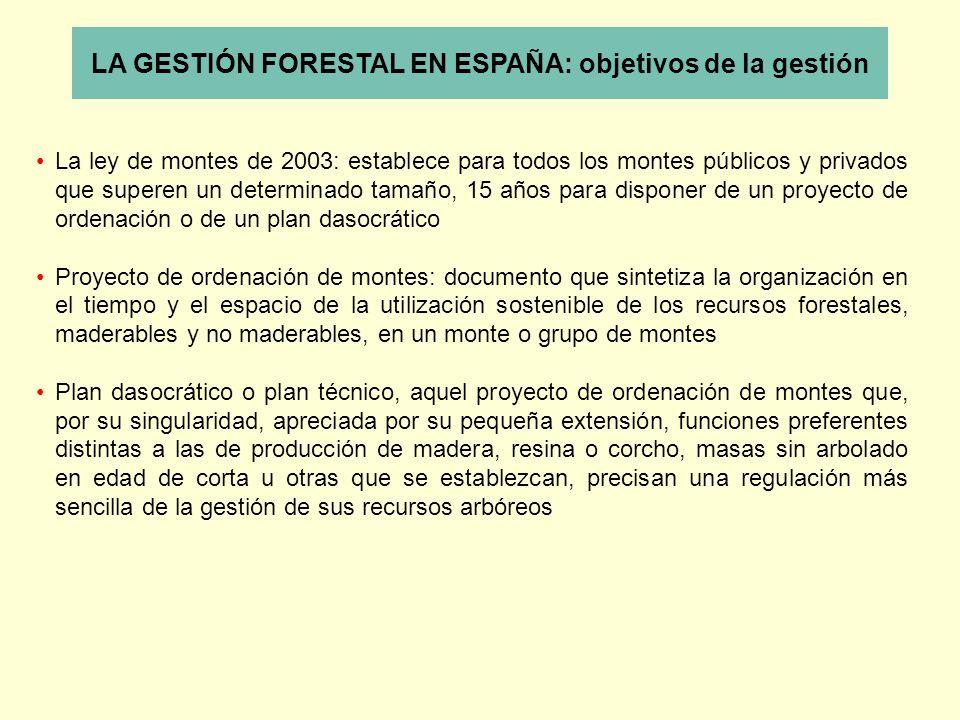 LA GESTIÓN FORESTAL EN ESPAÑA: objetivos de la gestión