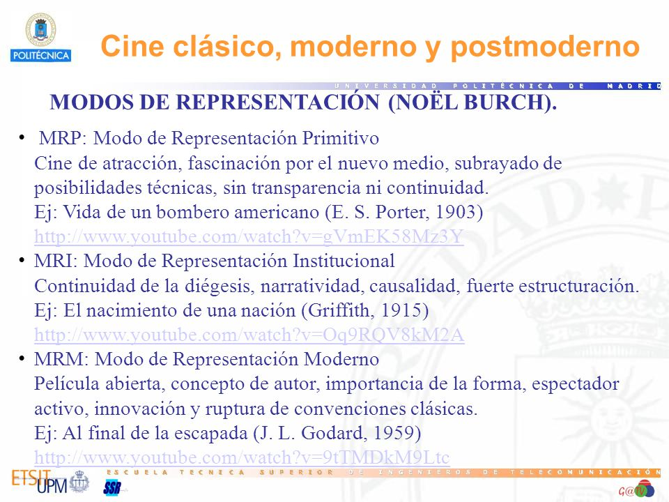 MODOS DE REPRESENTACIÓN (NOËL BURCH).