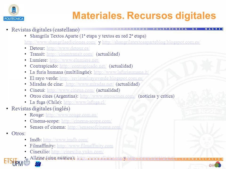 Materiales. Recursos digitales