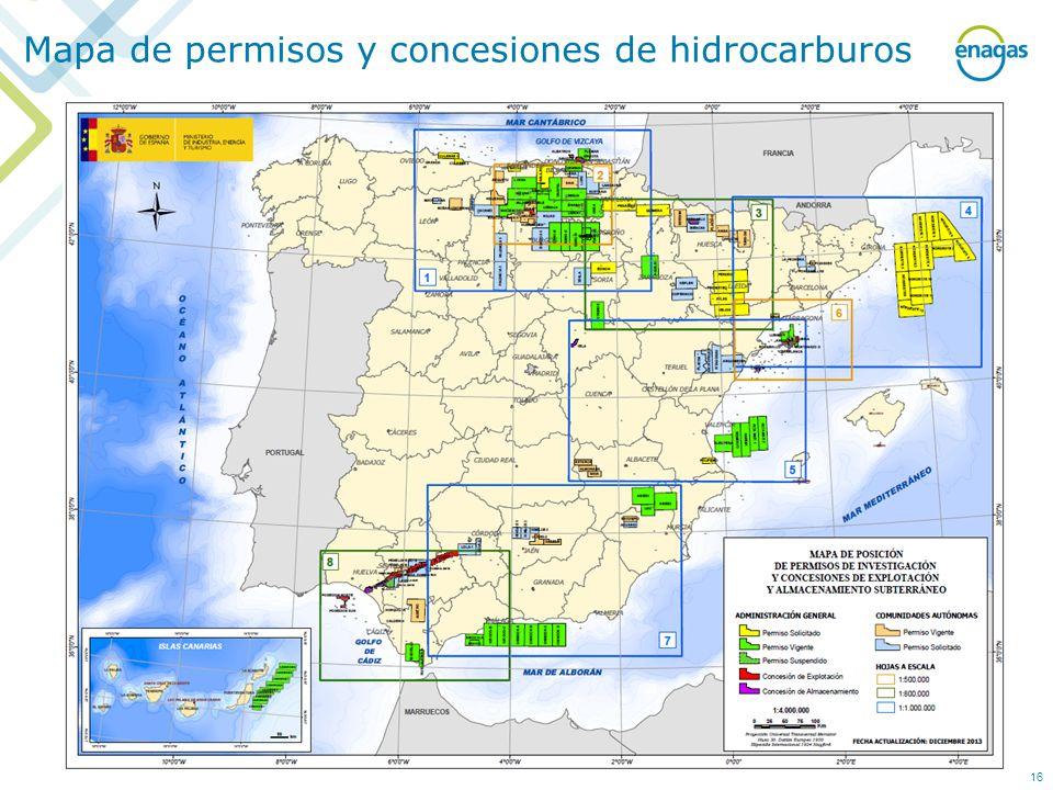 Mapa de permisos y concesiones de hidrocarburos