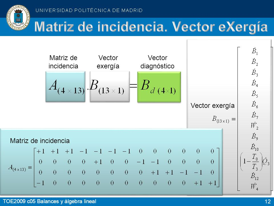 Matriz de incidencia. Vector eXergía
