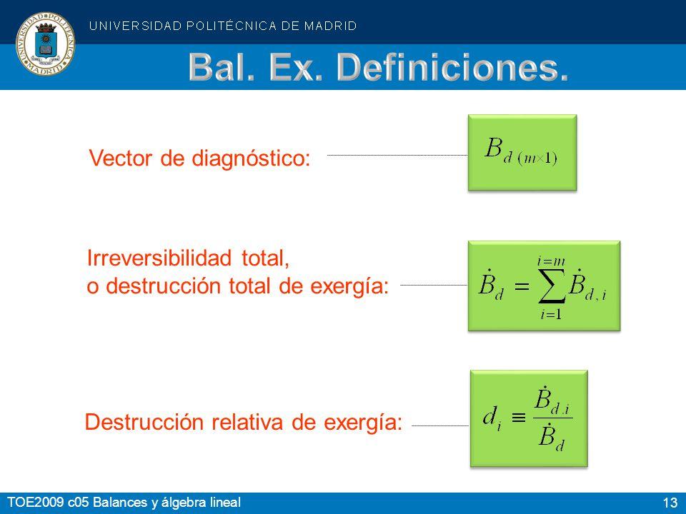Bal. Ex. Definiciones. Vector de diagnóstico: Irreversibilidad total,