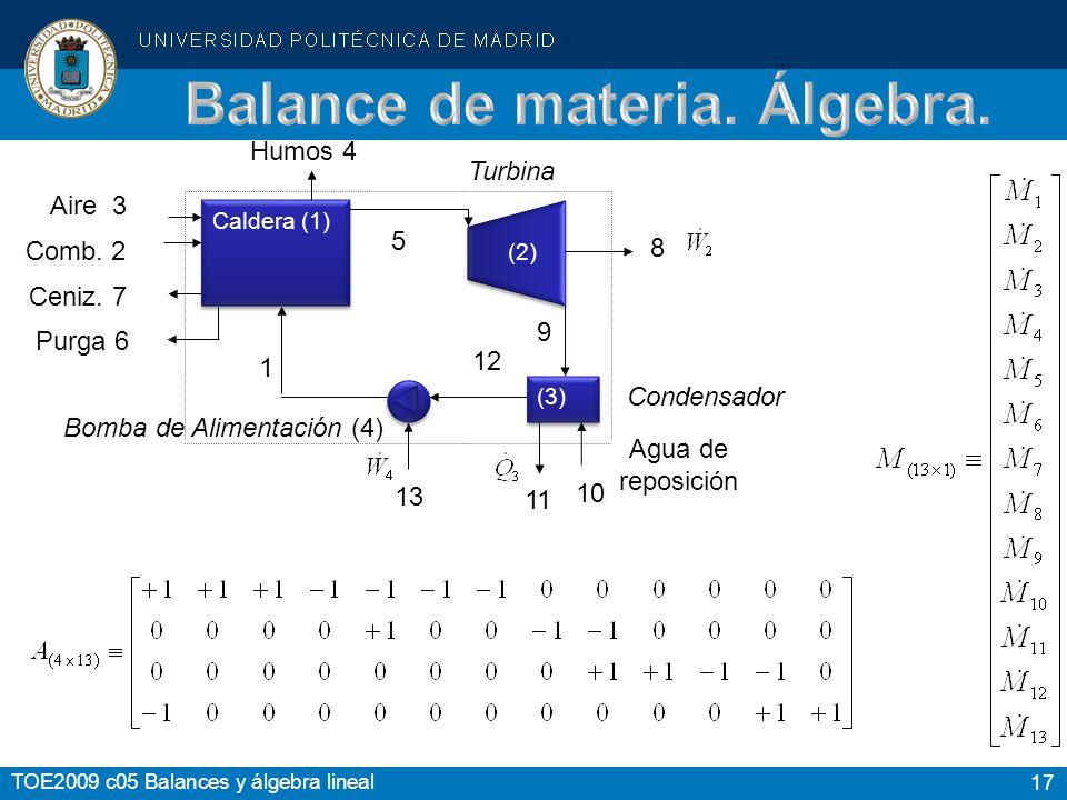 Balance de materia. Álgebra.