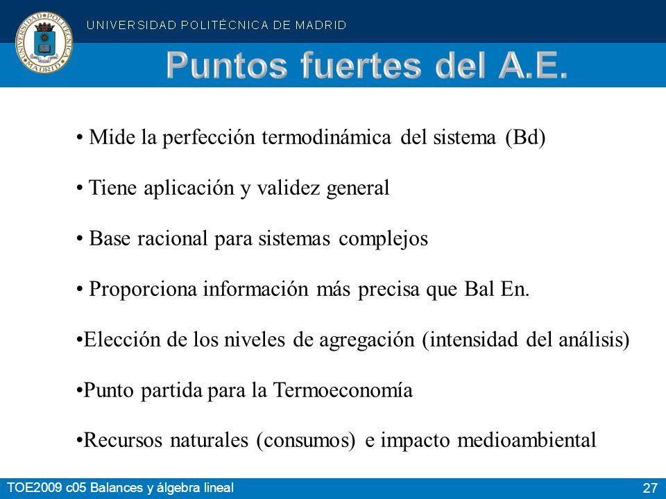 Puntos fuertes del A.E. Mide la perfección termodinámica del sistema (Bd) Tiene aplicación y validez general.
