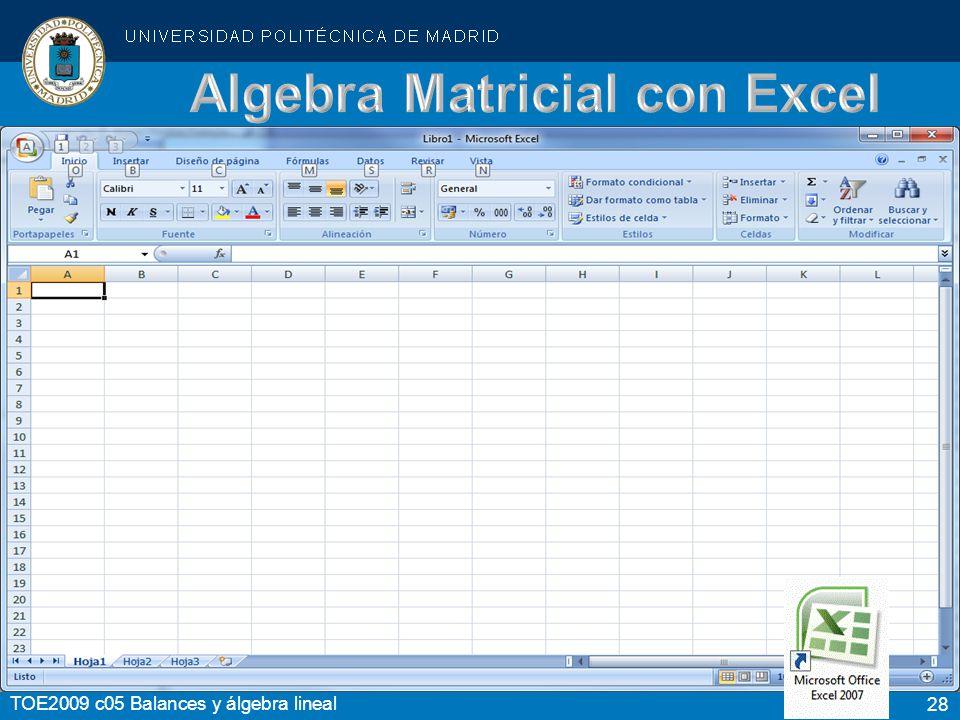 Algebra Matricial con Excel