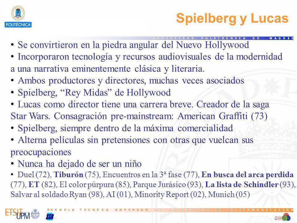 109 Spielberg y Lucas. Se convirtieron en la piedra angular del Nuevo Hollywood. Incorporaron tecnología y recursos audiovisuales de la modernidad.