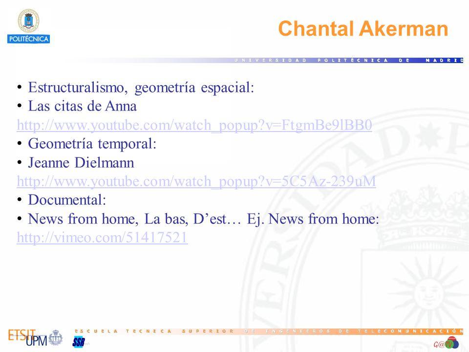 Chantal Akerman Estructuralismo, geometría espacial: Las citas de Anna