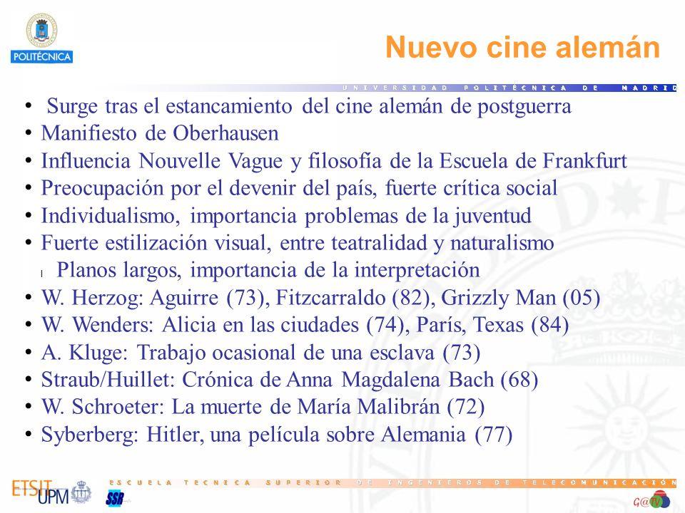 96 Nuevo cine alemán. Surge tras el estancamiento del cine alemán de postguerra. Manifiesto de Oberhausen.