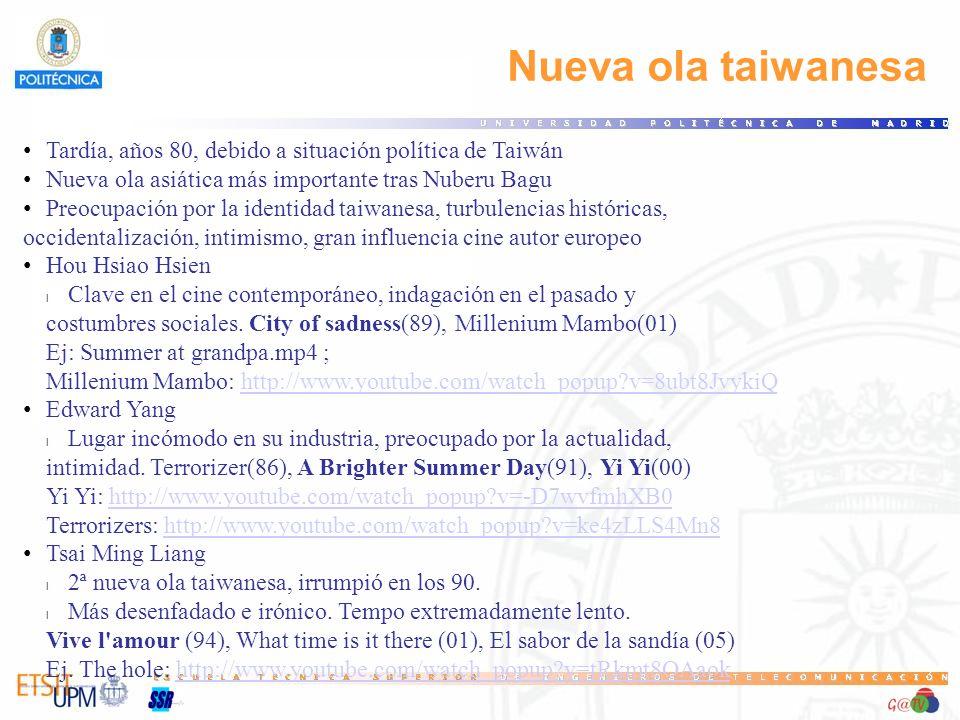 99 Nueva ola taiwanesa. Tardía, años 80, debido a situación política de Taiwán. Nueva ola asiática más importante tras Nuberu Bagu.