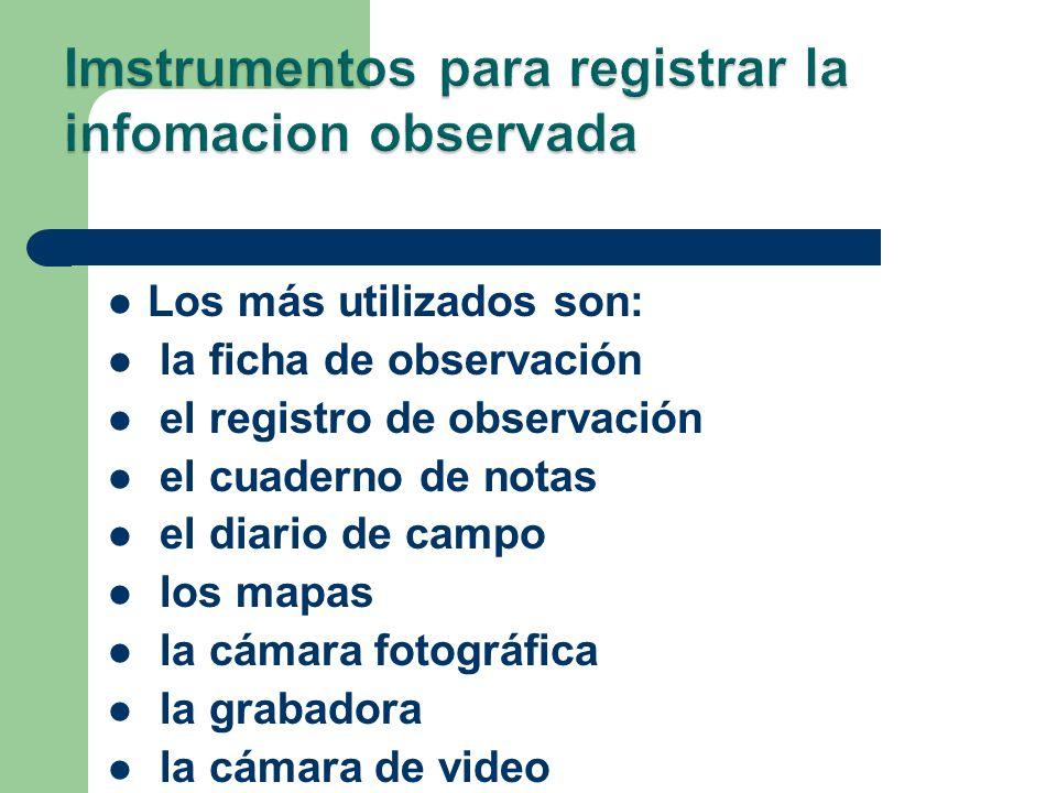 Imstrumentos para registrar la infomacion observada