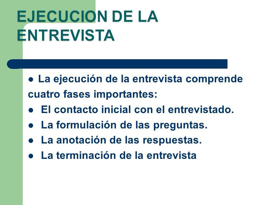 EJECUCION DE LA ENTREVISTA