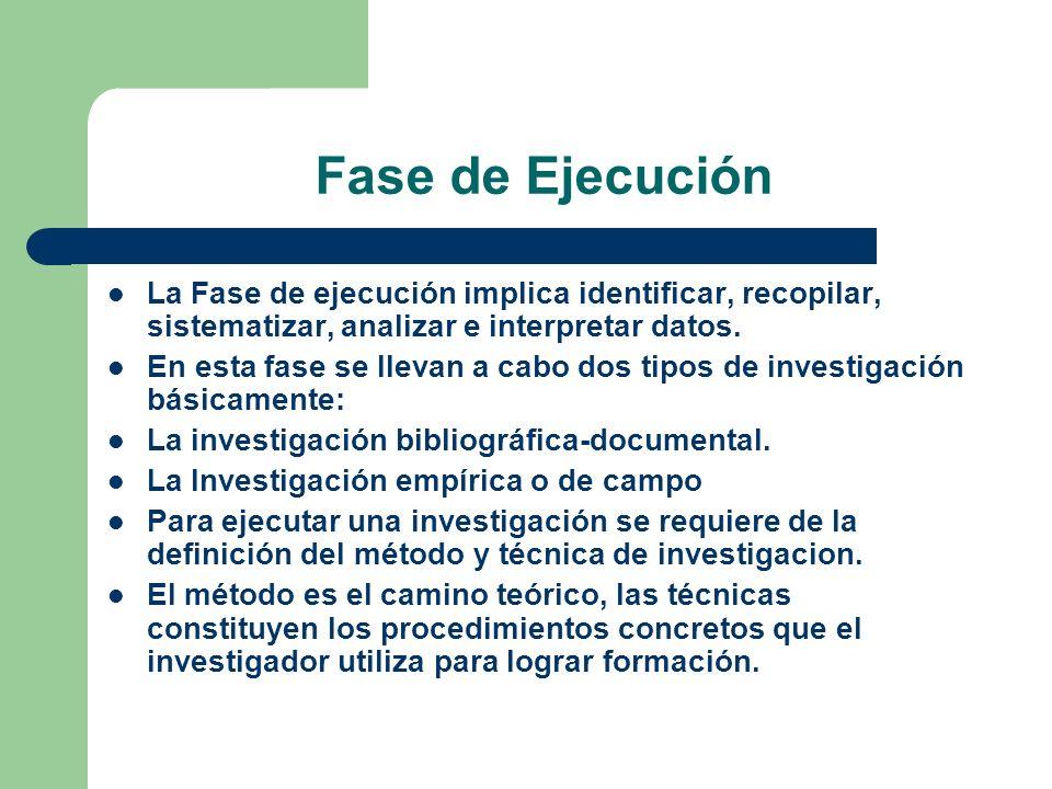 Fase de Ejecución La Fase de ejecución implica identificar, recopilar, sistematizar, analizar e interpretar datos.