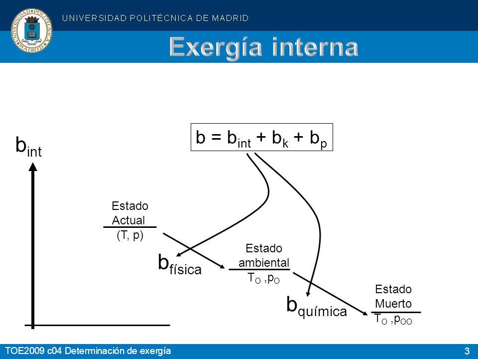 Exergía interna bint bfísica bquímica b = bint + bk + bp Estado Actual