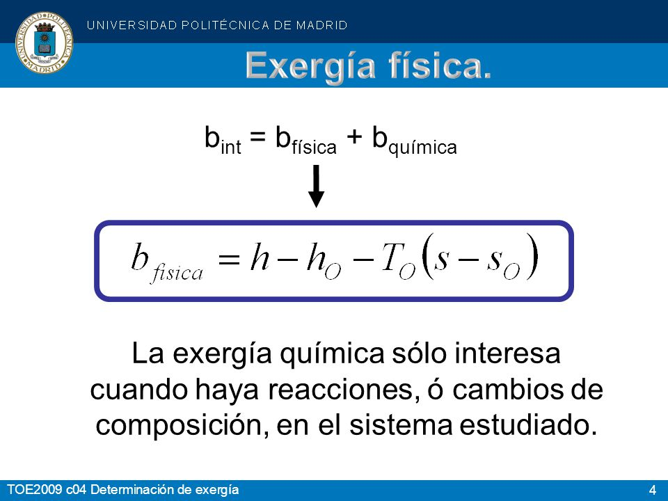 Exergía física. bint = bfísica + bquímica