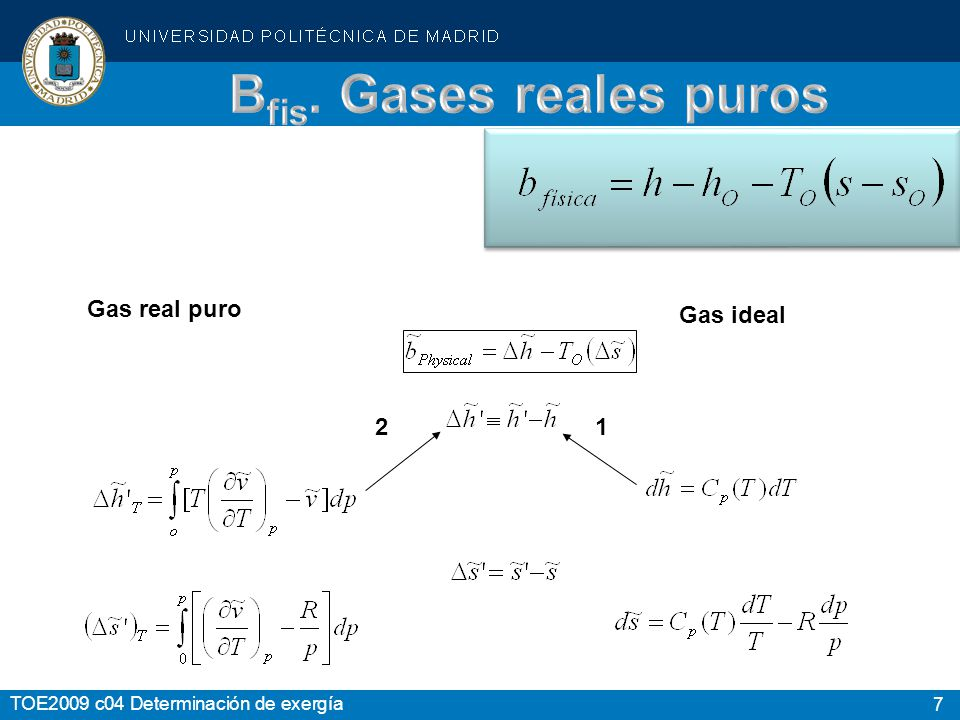 Bfis. Gases reales puros