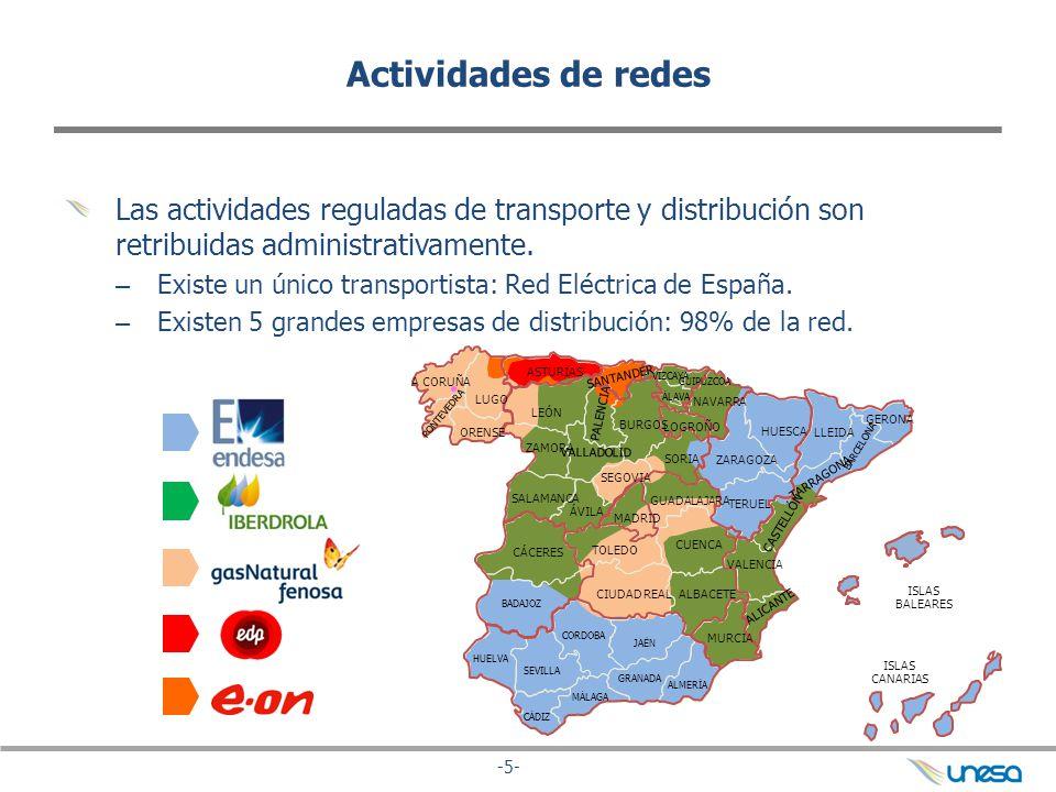 Actividades de redes Las actividades reguladas de transporte y distribución son retribuidas administrativamente.