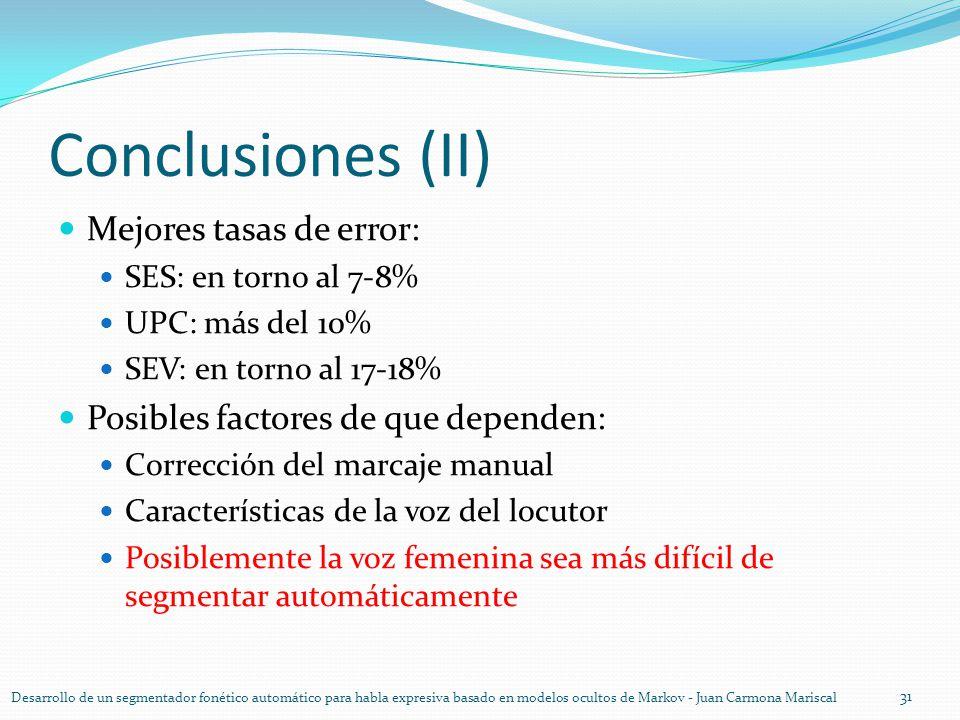Conclusiones (II) Mejores tasas de error: