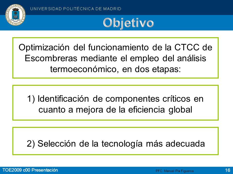 Objetivo Optimización del funcionamiento de la CTCC de Escombreras mediante el empleo del análisis termoeconómico, en dos etapas: