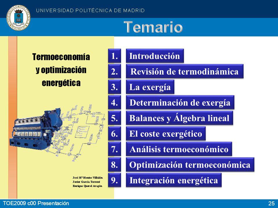 Temario 1. Introducción 2. Revisión de termodinámica 3. La exergía 4.