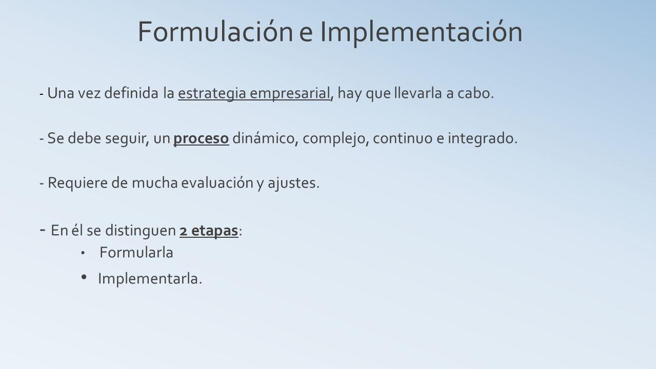 Formulación e Implementación