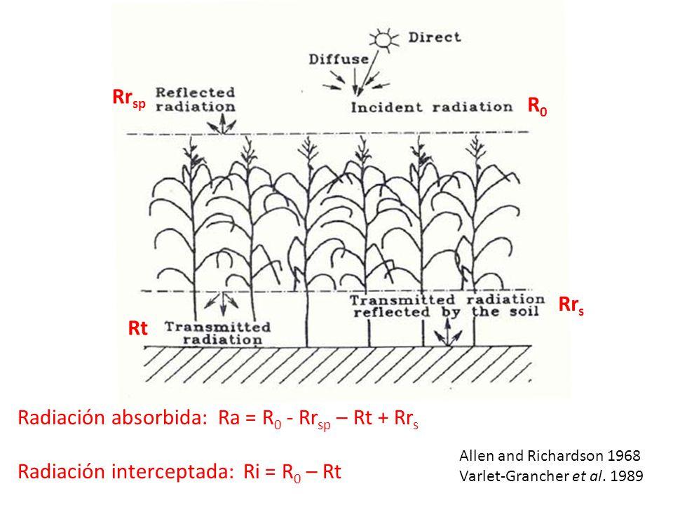 Radiación absorbida: Ra = R0 - Rrsp – Rt + Rrs