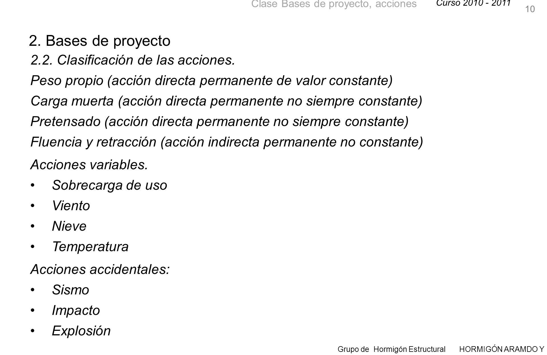 2. Bases de proyecto 2.2. Clasificación de las acciones.