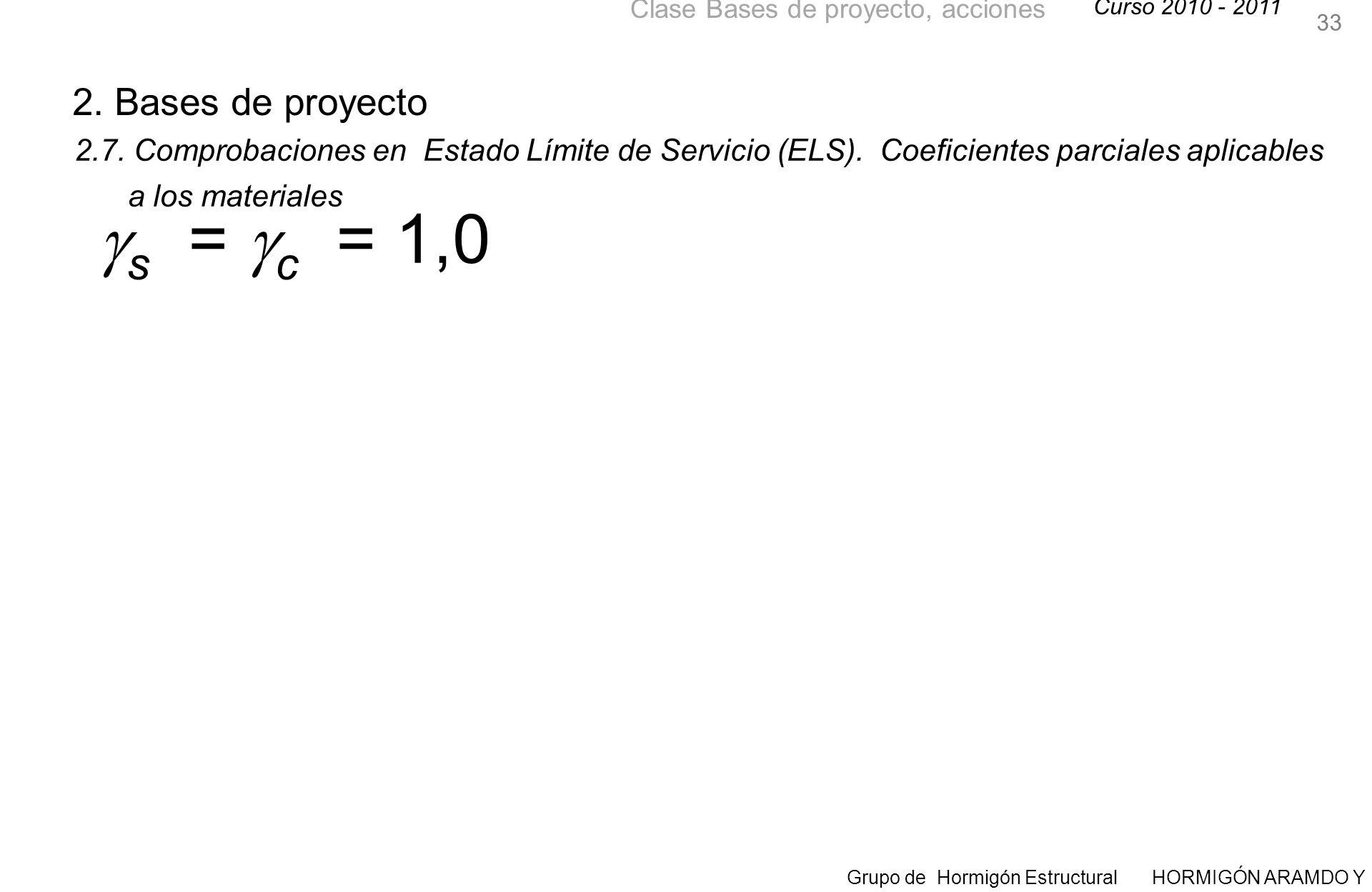 s = c = 1,0 2. Bases de proyecto