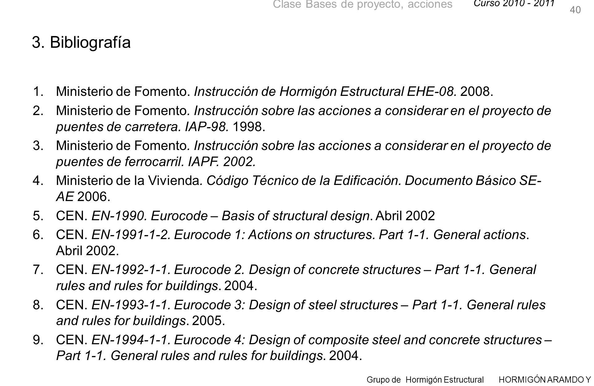 40 3. Bibliografía. Ministerio de Fomento. Instrucción de Hormigón Estructural EHE-08. 2008.