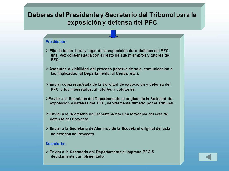Deberes del Presidente y Secretario del Tribunal para la exposición y defensa del PFC