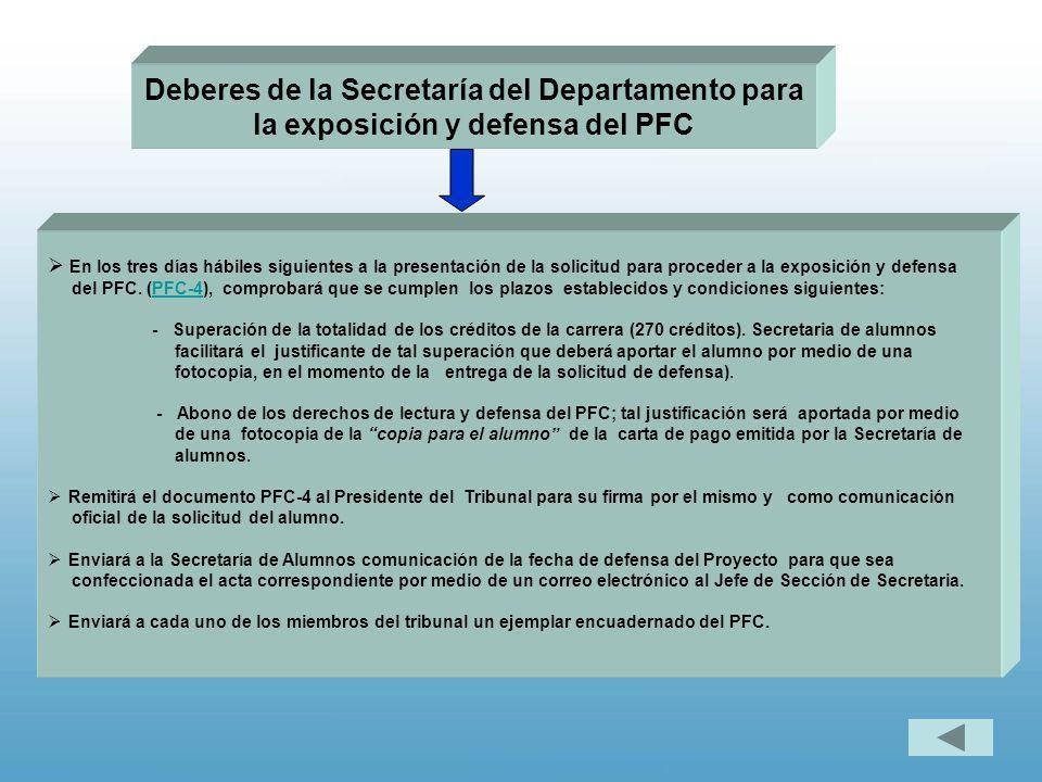 Deberes de la Secretaría del Departamento para la exposición y defensa del PFC