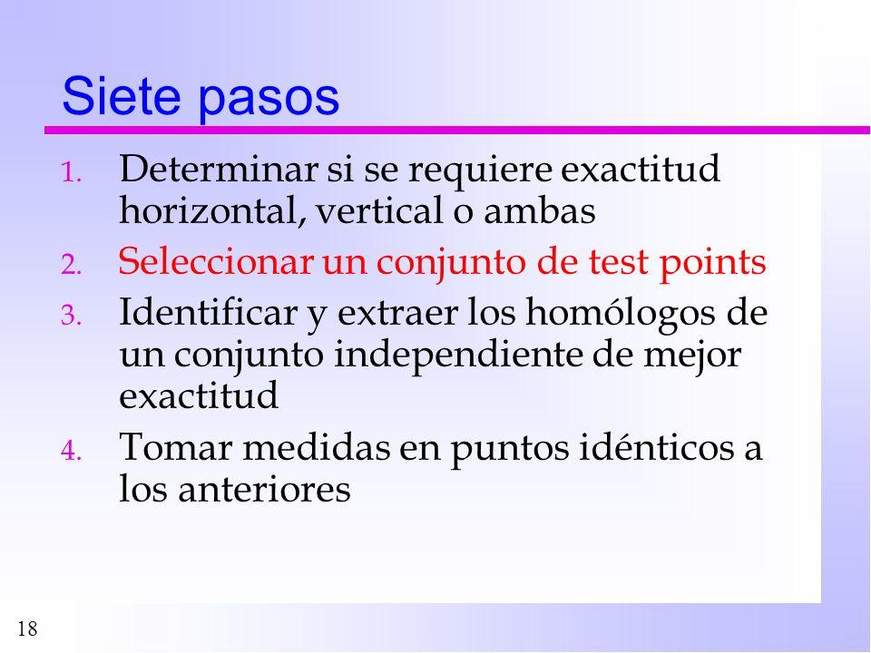 Siete pasos Determinar si se requiere exactitud horizontal, vertical o ambas. Seleccionar un conjunto de test points.