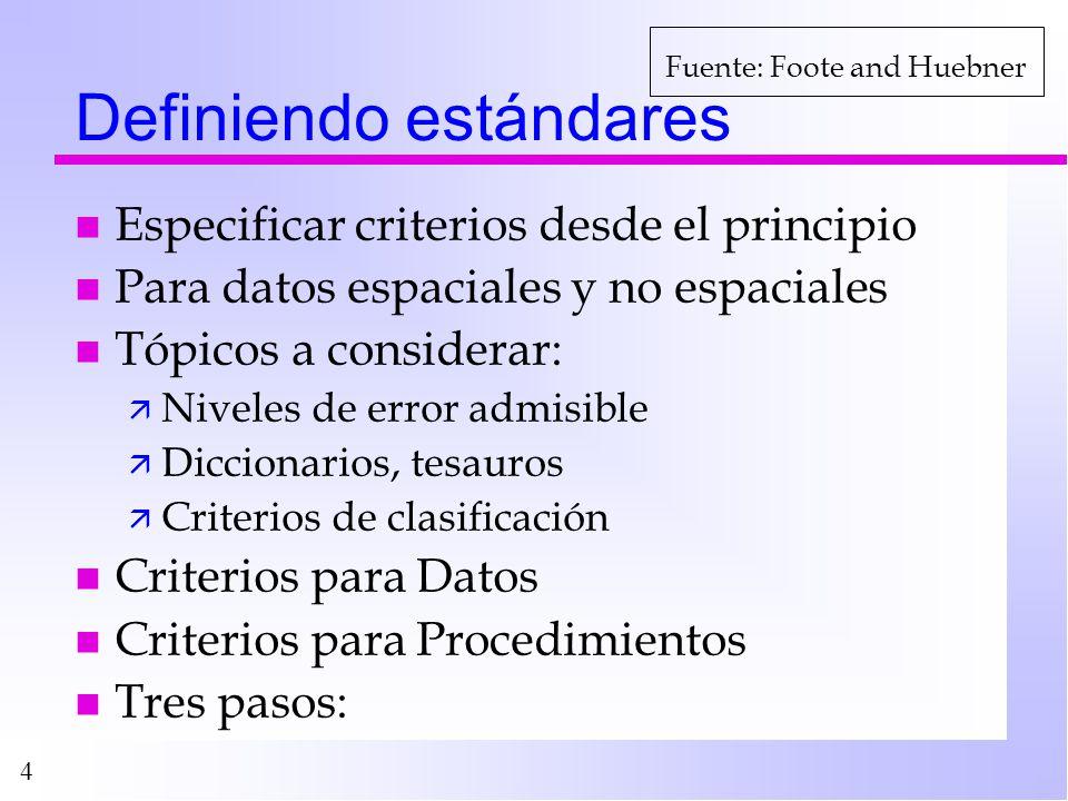 Definiendo estándares