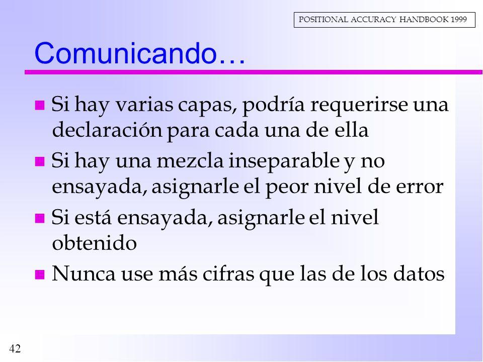 Comunicando… POSITIONAL ACCURACY HANDBOOK 1999. Si hay varias capas, podría requerirse una declaración para cada una de ella.