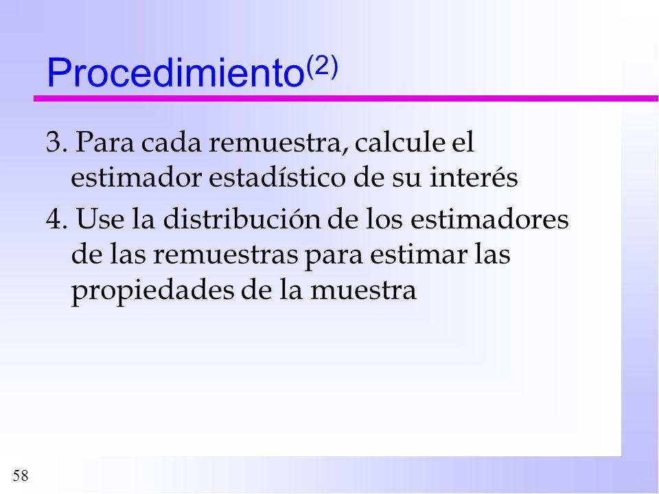 Procedimiento(2) 3. Para cada remuestra, calcule el estimador estadístico de su interés.