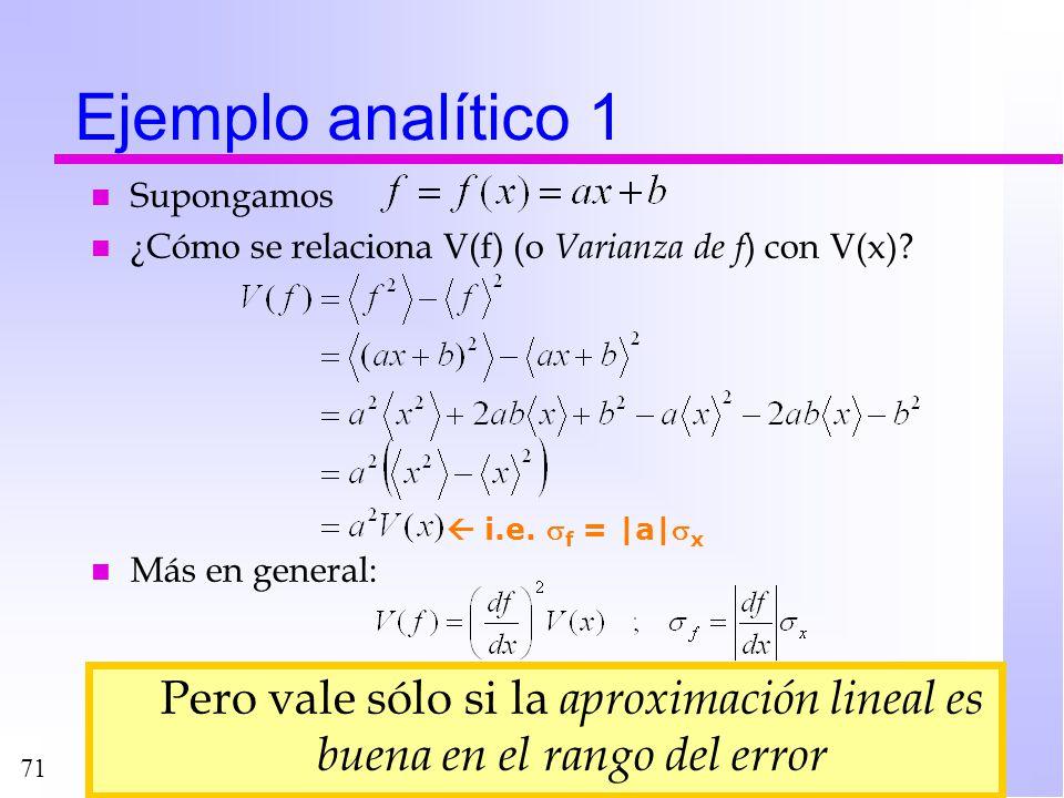 Ejemplo analítico 1 Supongamos. ¿Cómo se relaciona V(f) (o Varianza de f) con V(x) Más en general: