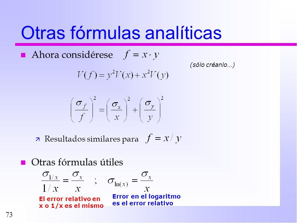 Otras fórmulas analíticas