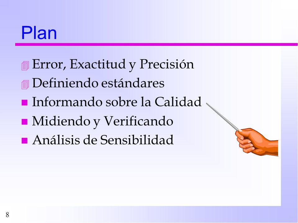 Plan Error, Exactitud y Precisión Definiendo estándares