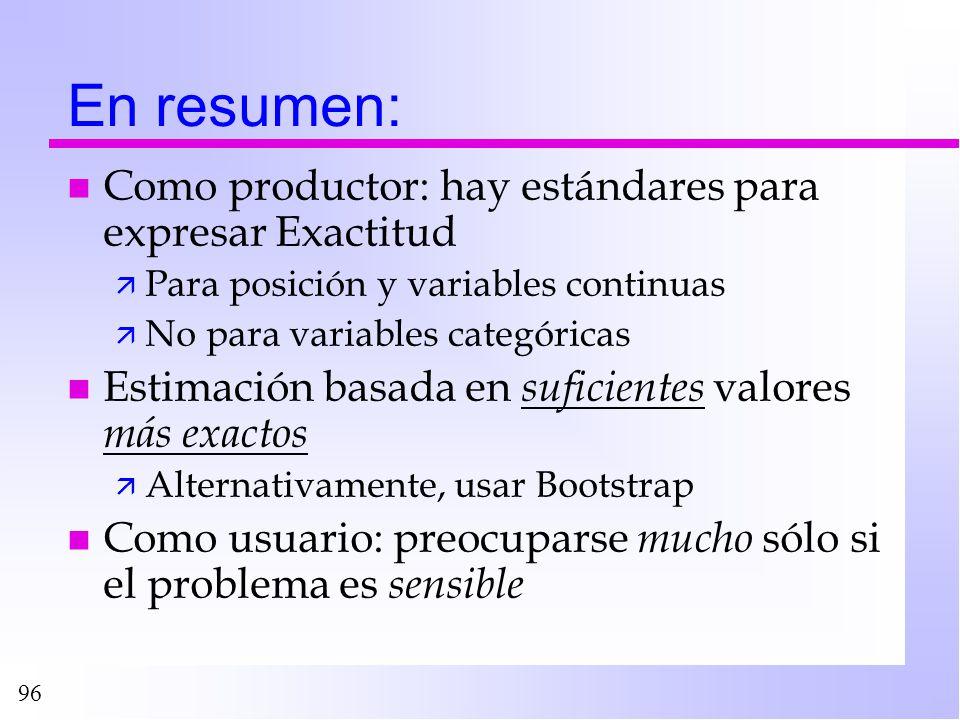 En resumen: Como productor: hay estándares para expresar Exactitud