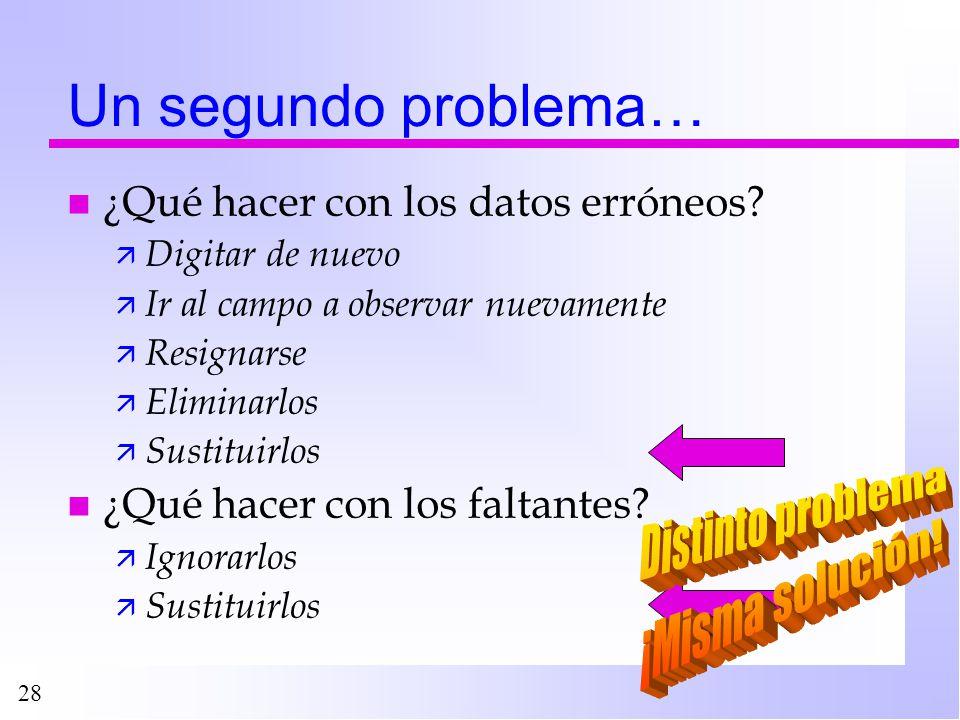 Un segundo problema… Distinto problema ¡Misma solución!