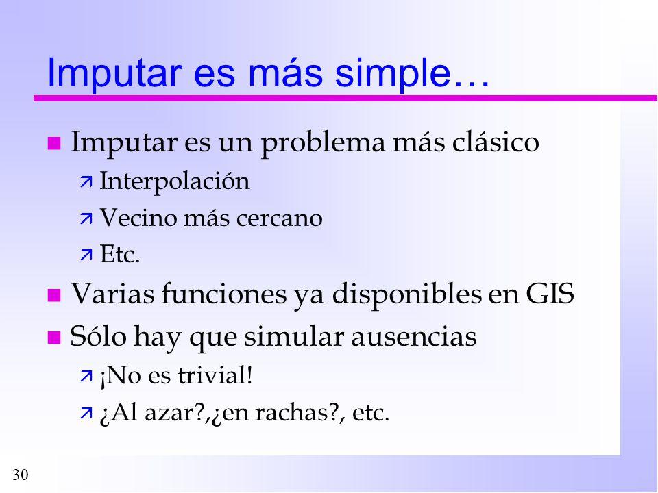 Imputar es más simple… Imputar es un problema más clásico