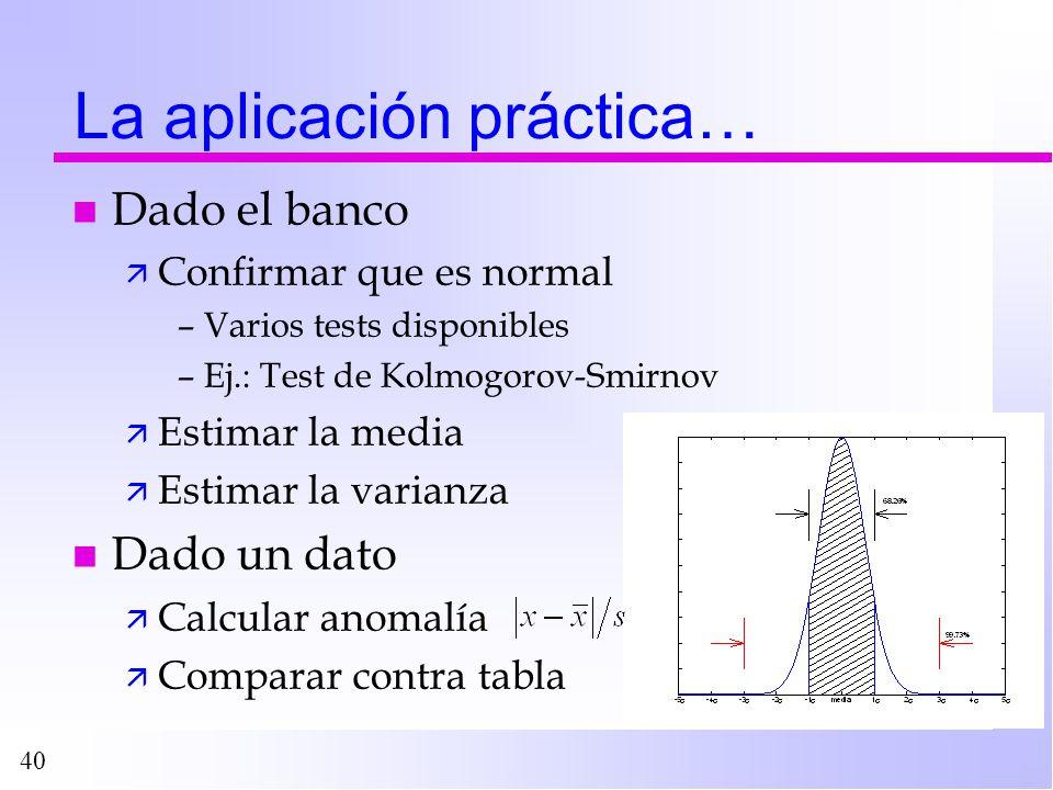 La aplicación práctica…