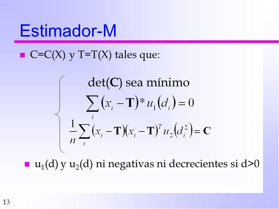 Estimador-M det(C) sea mínimo C=C(X) y T=T(X) tales que: