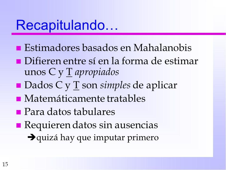 Recapitulando… Estimadores basados en Mahalanobis