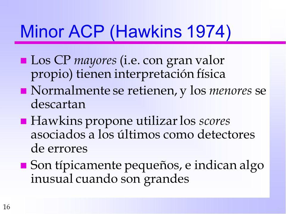 Minor ACP (Hawkins 1974) Los CP mayores (i.e. con gran valor propio) tienen interpretación física.