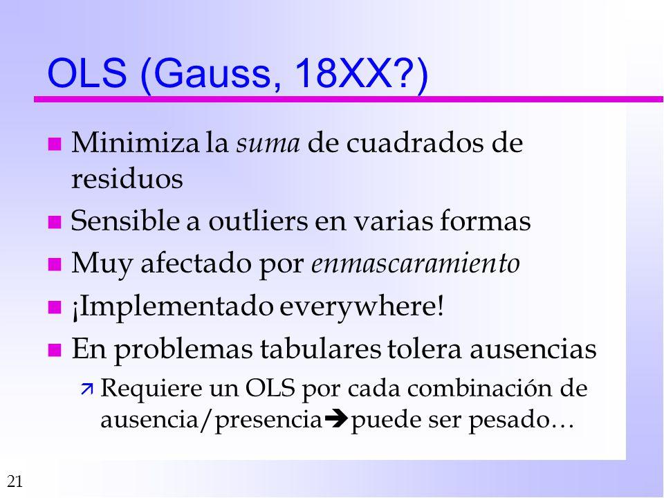 OLS (Gauss, 18XX ) Minimiza la suma de cuadrados de residuos