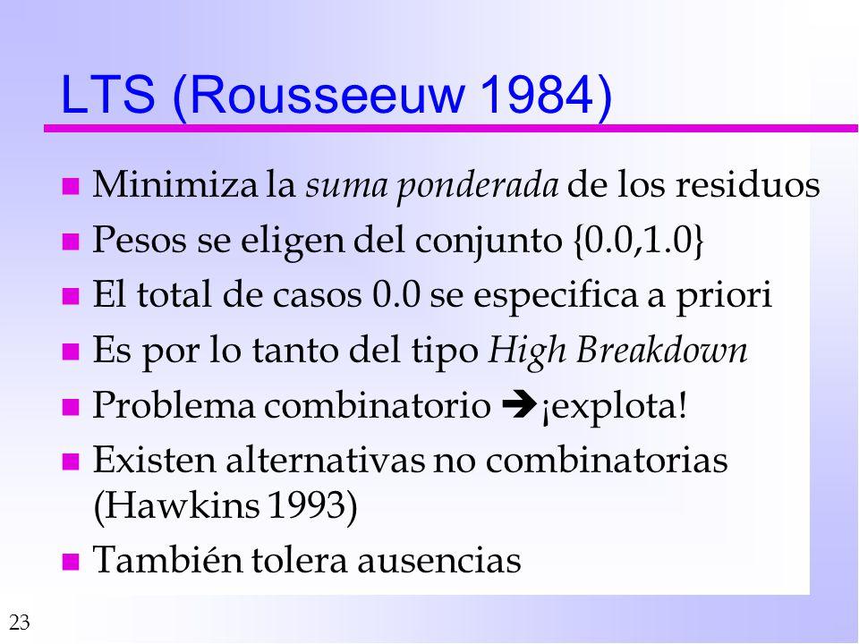 LTS (Rousseeuw 1984) Minimiza la suma ponderada de los residuos
